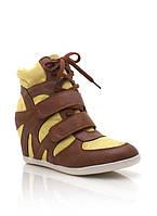 Кроссовки на танкетке brown-yellow, фото 1
