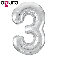 Фольгированная цифра 3 (40') Agura Slim серебро в упаковке, 102 см