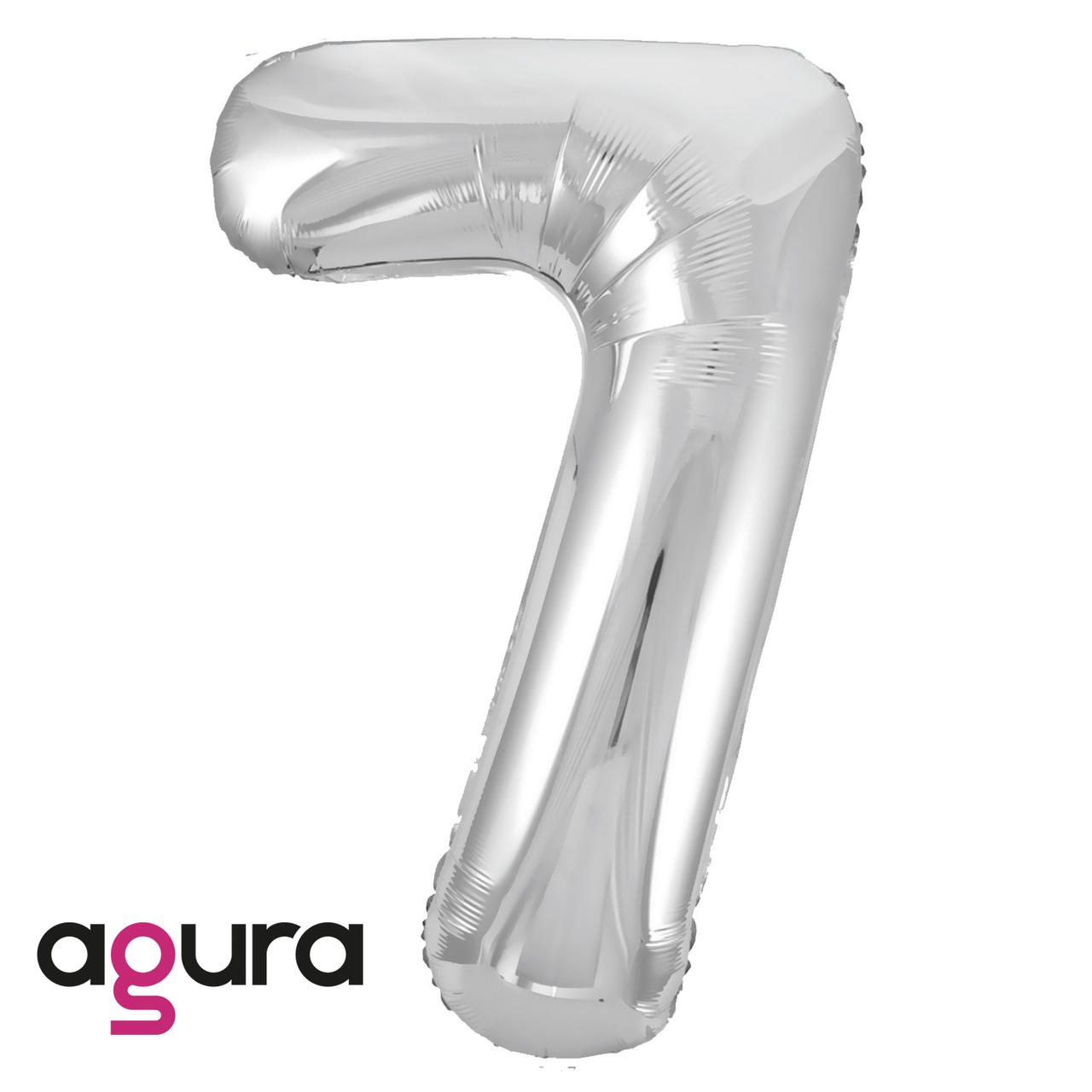 Фольгированная цифра 7 (40') Agura Slim серебро в упаковке, 102 см