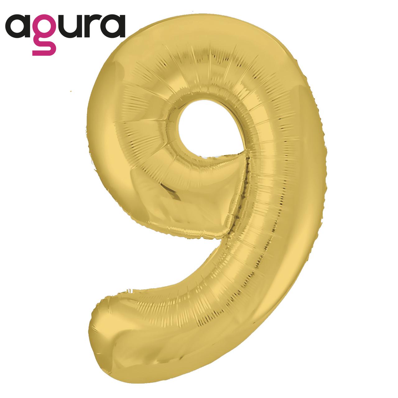 Фольгированная цифра 9 (40') Agura Slim золото в упаковке, 102 см