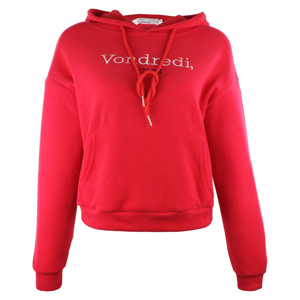 Худі жіноча з капюшоном червона коротка Vondredi