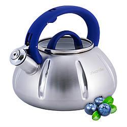 Чайник Kamille 3л з нержавіючої сталі зі свистком і скляною кришкою для всіх видів плит