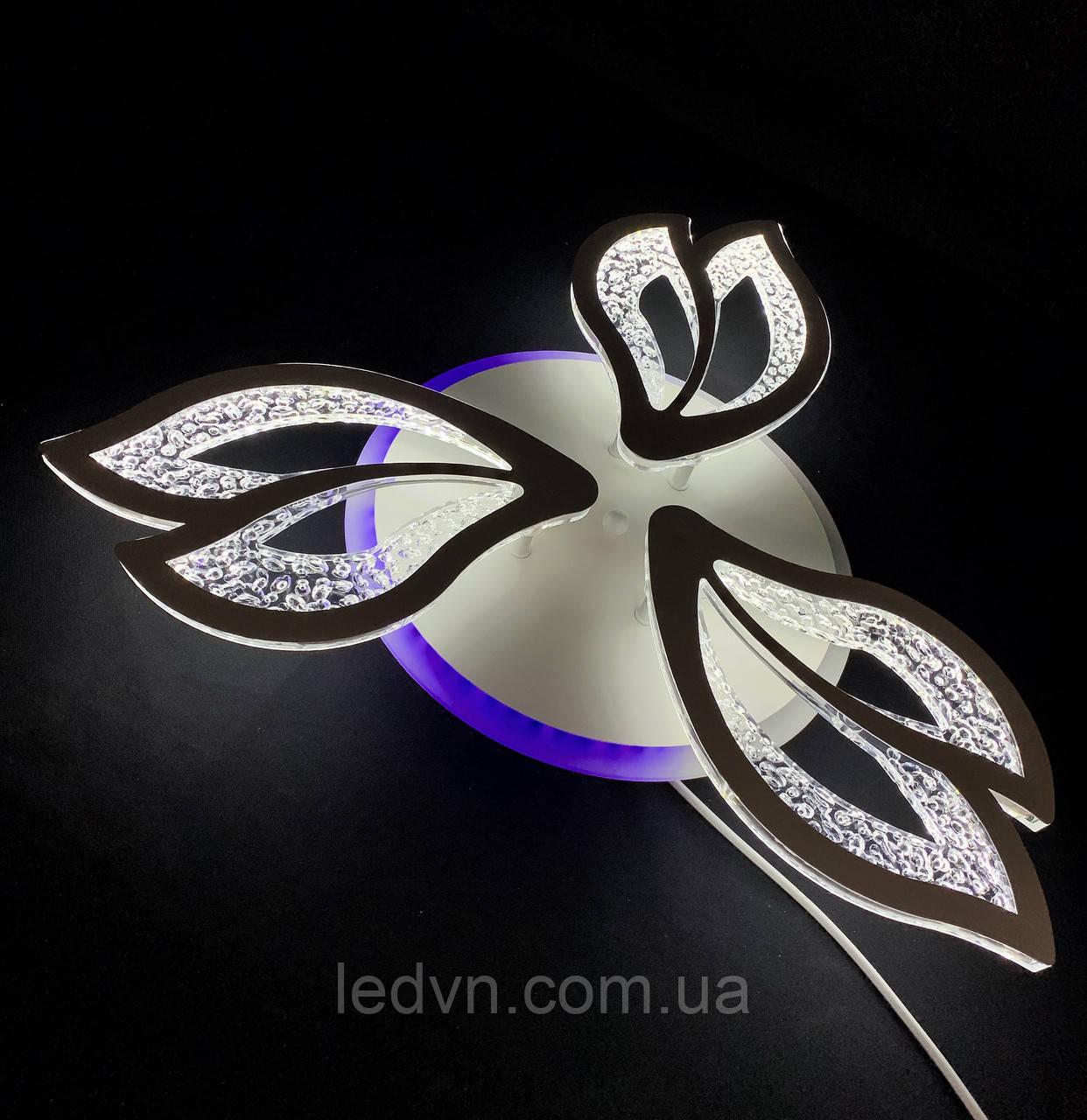 Стельова світлодіодна люстра три пелюстки біла 55 вт