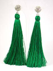 Серьги Кисточки Зеленая Лиана