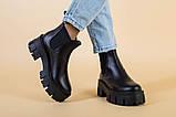 Ботинки женские кожаные черные с резинкой на тракторной подошве, фото 5