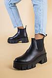 Ботинки женские кожаные черные с резинкой на тракторной подошве, фото 6