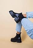 Ботинки женские кожаные черные с резинкой на тракторной подошве, фото 7