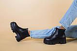 Ботинки женские кожаные черные с резинкой на тракторной подошве, фото 8