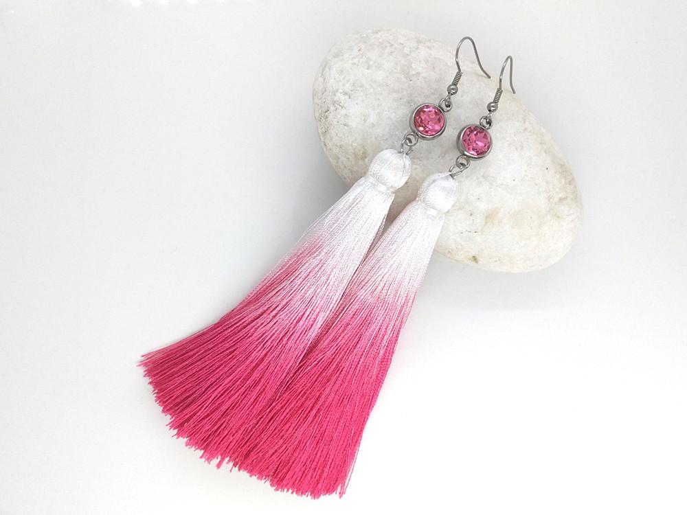 Сережки з китицями - Червоний тюльпан омбре