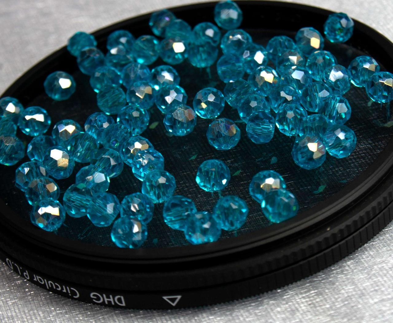 Бусины хрустальные (Рондель)  4х3мм пачка - 135-145 шт, цвет - бирюзовый прозрачный с АБ