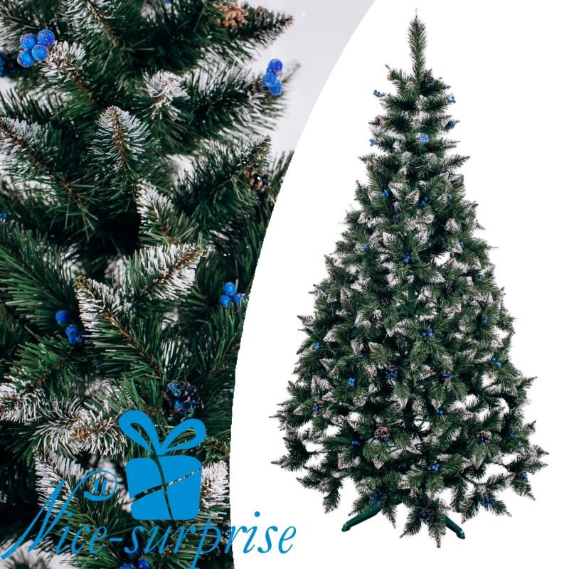 Ель искусственная РОЖДЕСТВЕНСКАЯ с белыми кончиками, шишками и калиной синей 200 см
