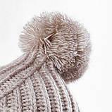 Стильна жіноча зимова шапка з бубоном з підворотом (чорний, р. UNI), фото 10