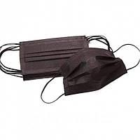 Маска защитная медицинская Черная трехслойная с фильтром и зажимом для носа ( упаковка 50шт) ОПТ/ДРОП