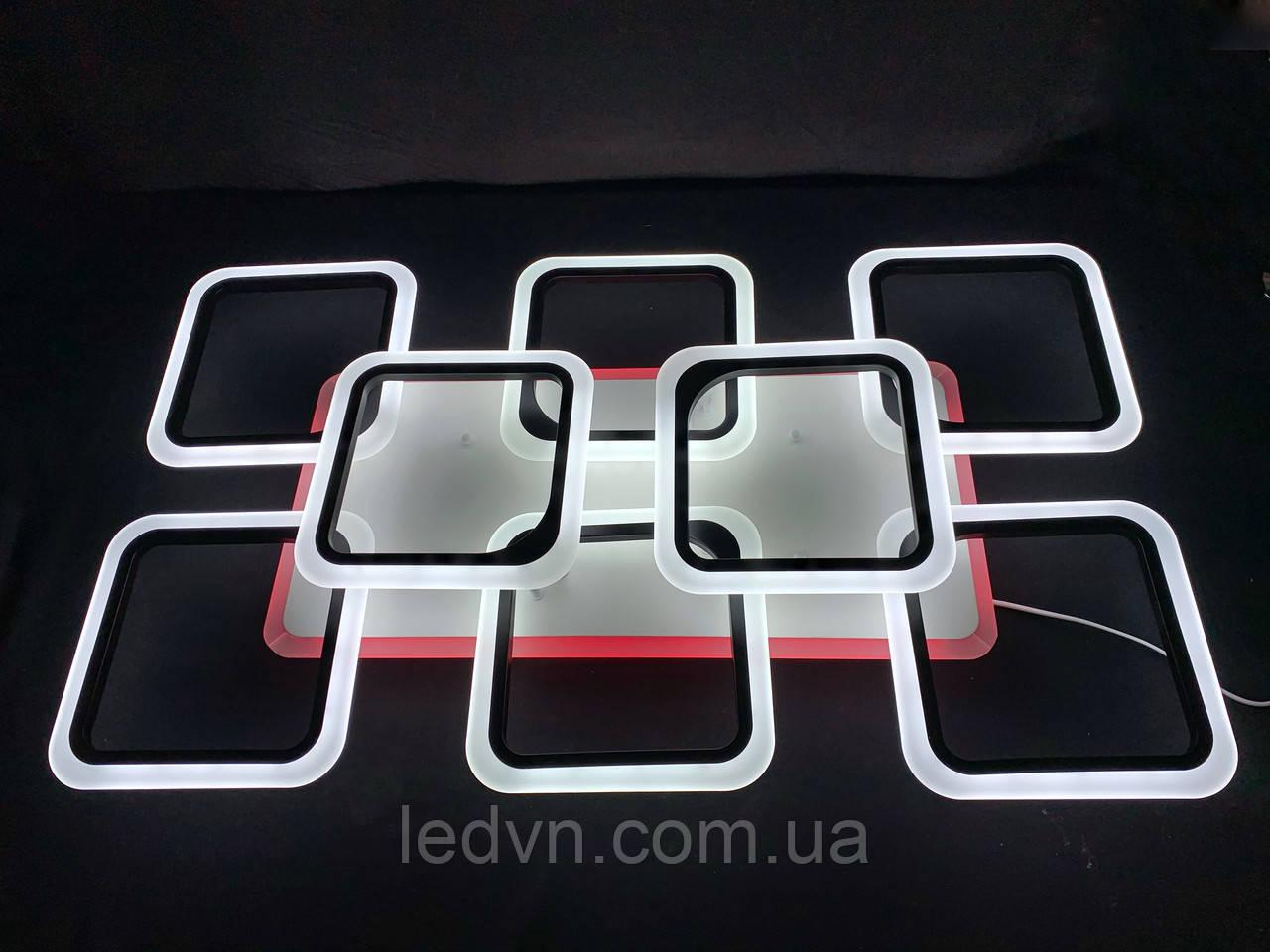 Светодиодная led люстра 6+2 квадрата черная 190 вт