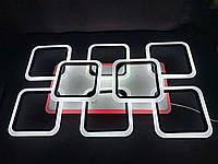 Светодиодная led люстра 6+2 квадрата черная 190 вт, фото 1