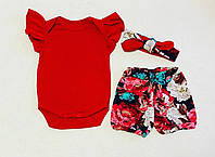 Боди, шорты и повязочка для девочки, кулир (р.92)