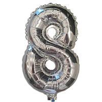 Шар фольгированный цифра 8 серебро 35 см