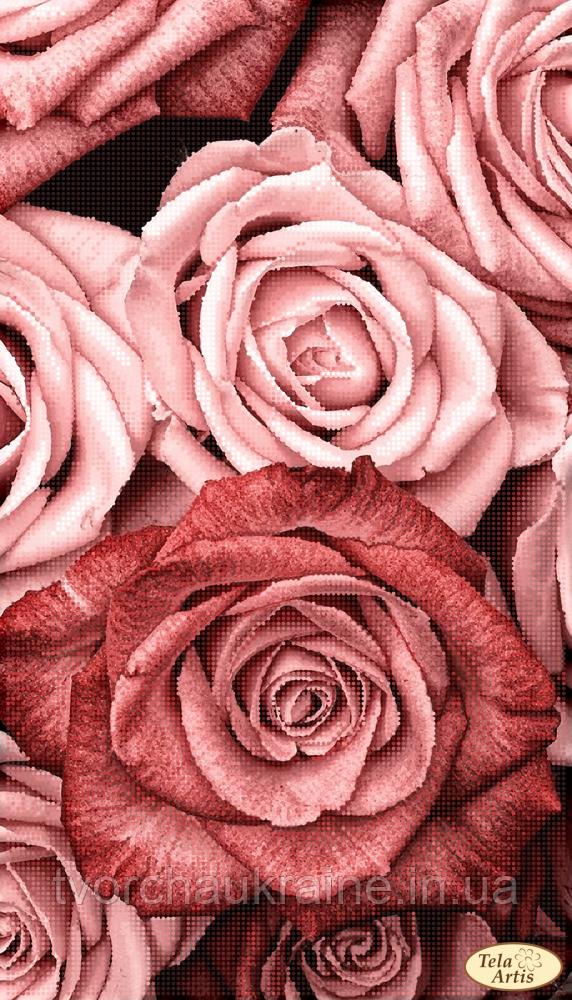 ТА-452 Пудровые розы. Схема для вышивания бисером