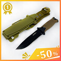 Тактический нож Gerber АК-207. Нож для охоты, рыбалки и туризма. Охотничий нож. Нож для выживания. Нож в чехле