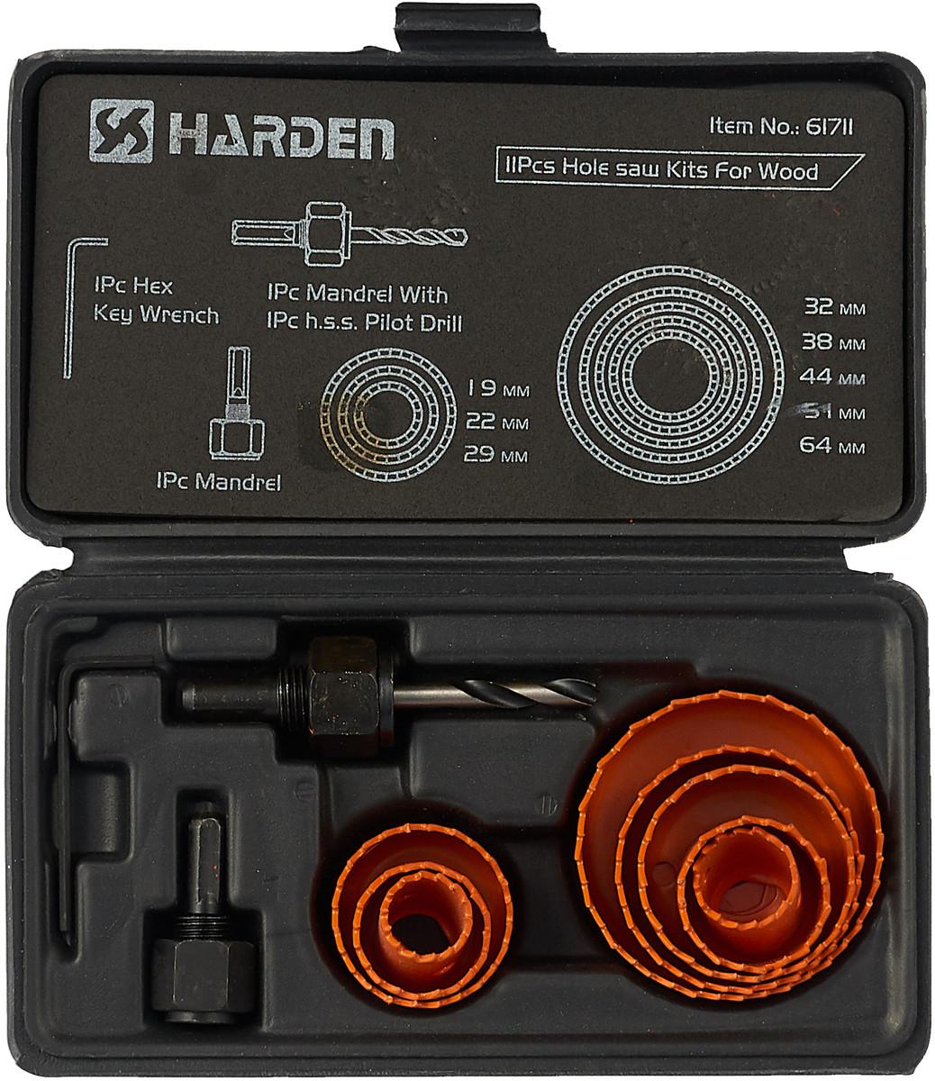 Набор коронок по дереву 11 предметов 19-64мм Harden Tools 610546