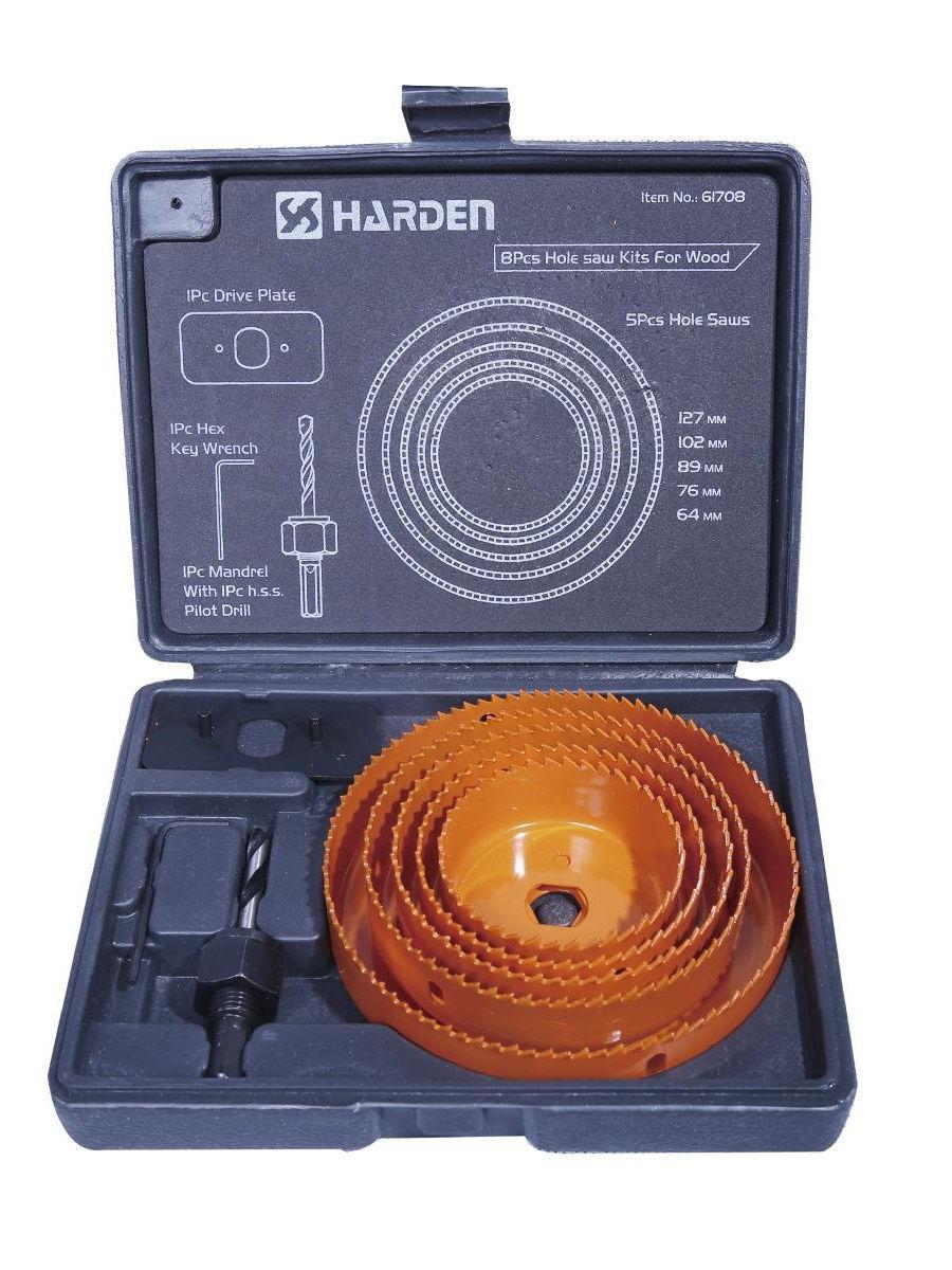 Профессиональный набор коронок по дереву 8 пр. 64-127мм Harden Tools 610545