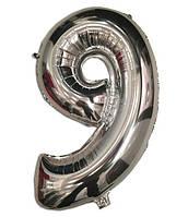 Шар фольгированный цифра 9 серебро 35 см