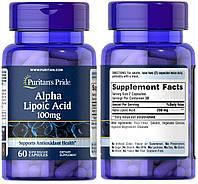 Puritan's Pride, Альфа-липоевая кислота, Тиоктовая кислота, Alpha Lipoic Acid, 100 мг, 60 капсул