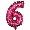 Шар фольгированный цифра 6 розовая с сердечками 35 см