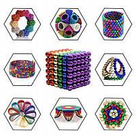 Неокуб Neocube разноцветный 216 шариков 5мм в металлическом боксе. Магнитный конструктор антистресс неокуб., фото 4