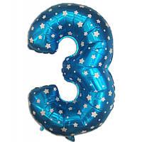 Шар фольгированный цифра 3 голубая со звездами  35 см
