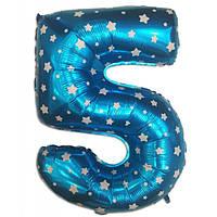 Шар фольгированный цифра 5 голубая со звездами  35 см