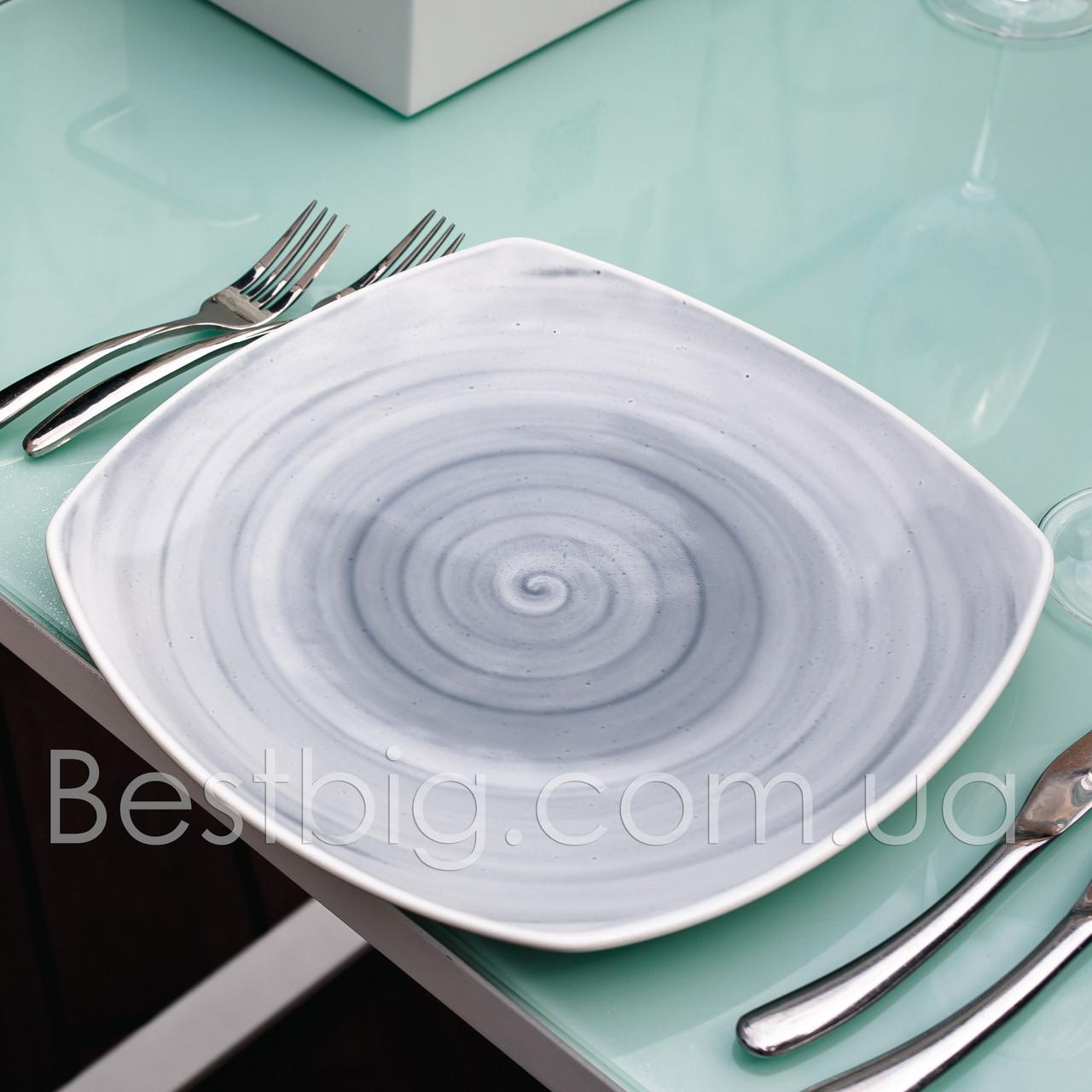 Тарелка мелкая квадратная - 25.5 см, Серая (ALT Porcelain) Classical