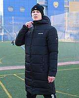 Парка мужская зимняя Adidas (Адидас) до -29*С теплая черная | Куртка мужская зимняя удлиненная ЛЮКС качества