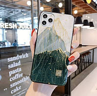 Чехол бампер на Iphone XR. Силиконовый чехол накладка на Айфон XR, Горы зеленые