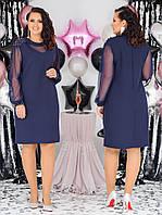 Женское красивое платье батал с 48 по 58 рр костюмка диагонали + сетка