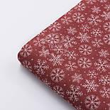 """Новогодняя ткань для скатертей """"Снежинки и мелкие звёздочки"""" на красном фоне №3080, фото 4"""