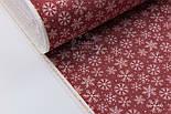 """Новогодняя ткань для скатертей """"Снежинки и мелкие звёздочки"""" на красном фоне №3080, фото 3"""