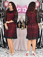Женское платье на выход батал с 48 по 58 рр трикотаж + гипюр