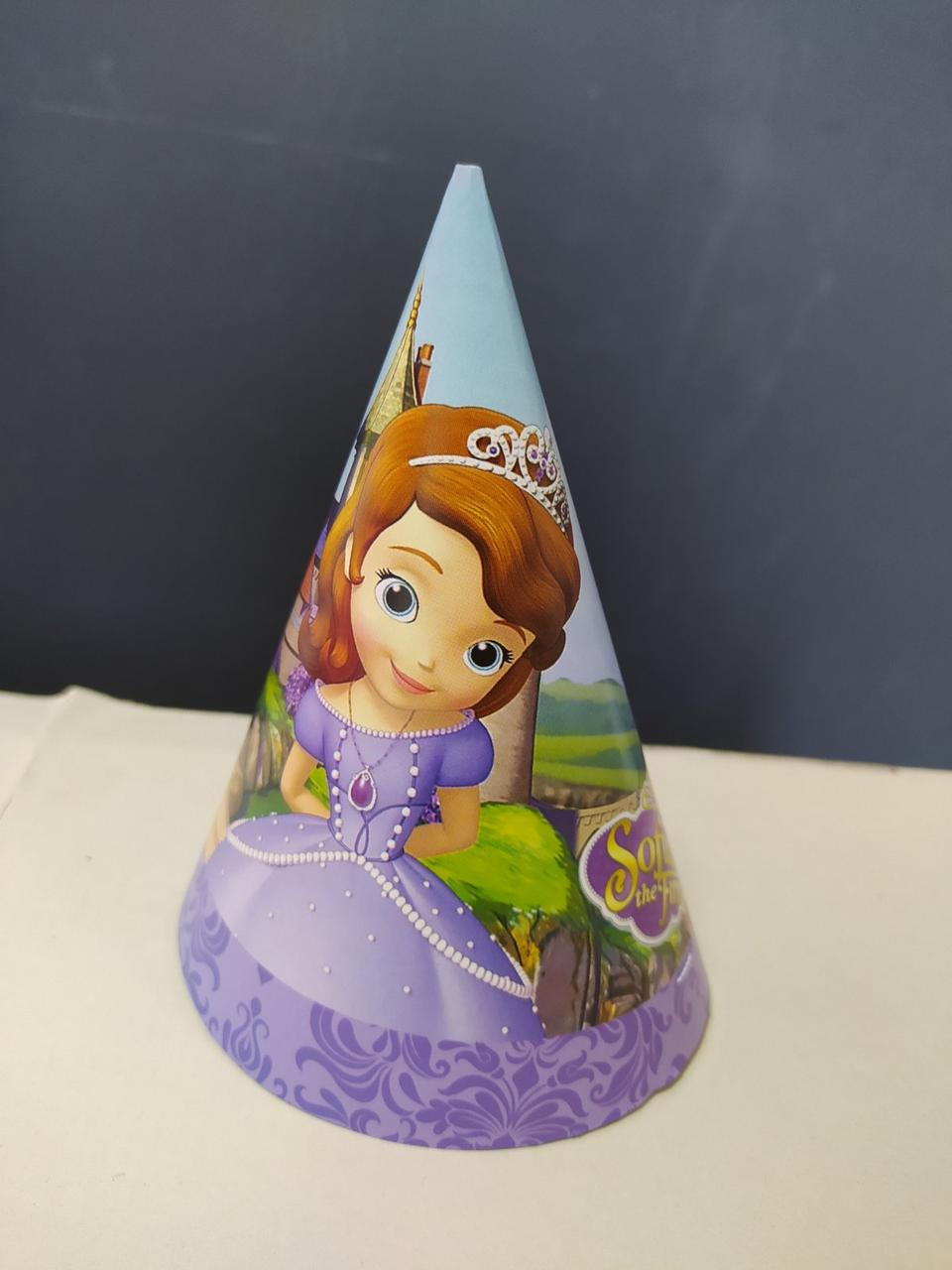 Ковпак святковий фіолетовий принт Принцеса Софія 15см