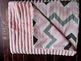Плюшевый плед на кушетку 120 см на 160 см -  светло-серый шарпей, фото 5