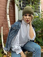 Шапка женская модная  вязаная  зимняя с подворотом цвета хаки, фото 1