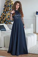 Нарядное женское длинное приталенное вечернее платье с расклешеной юбкой р.42-48. Арт-4304/7, фото 1