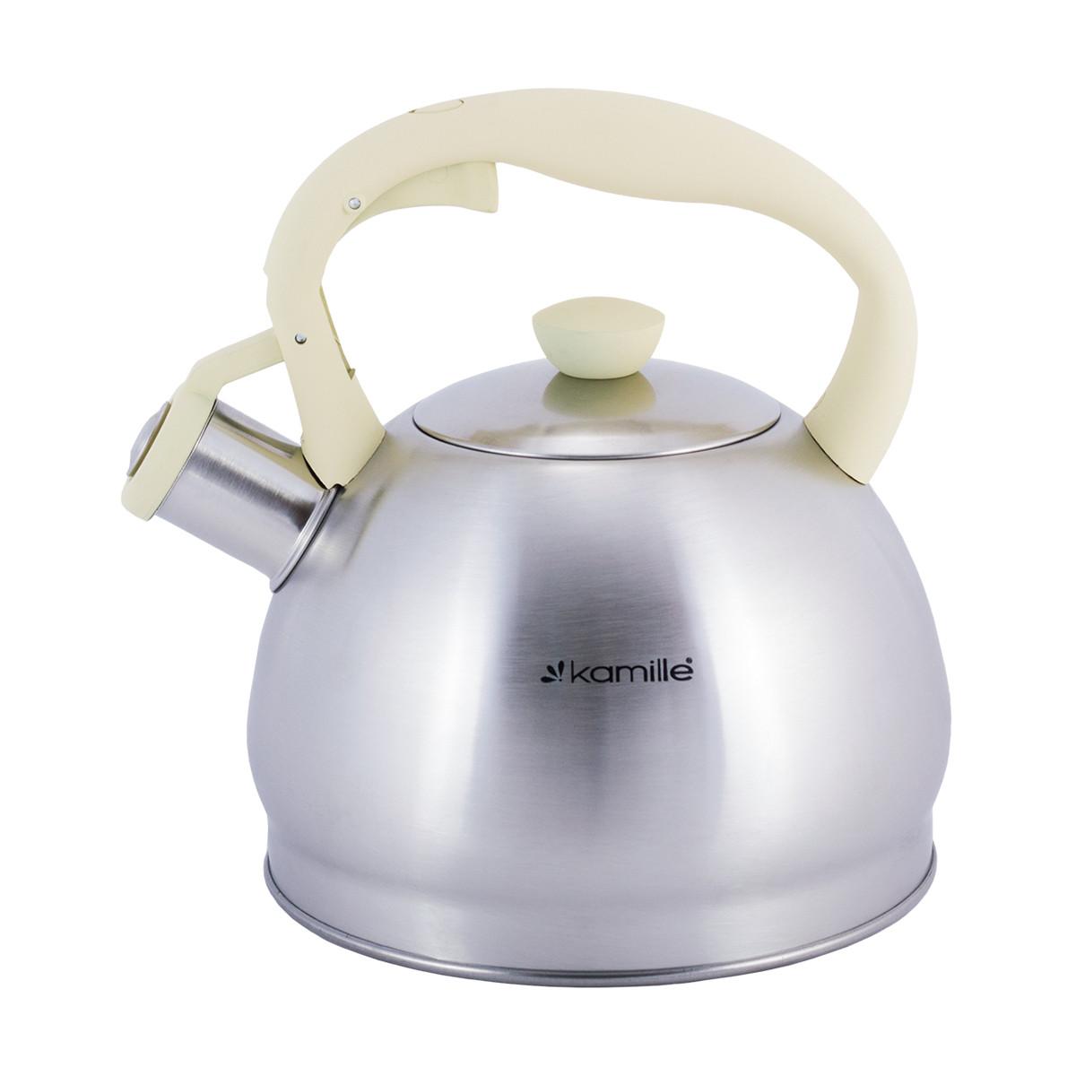 Чайник Kamille 2 л из нержавеющей стали со свистком для всех видов плит