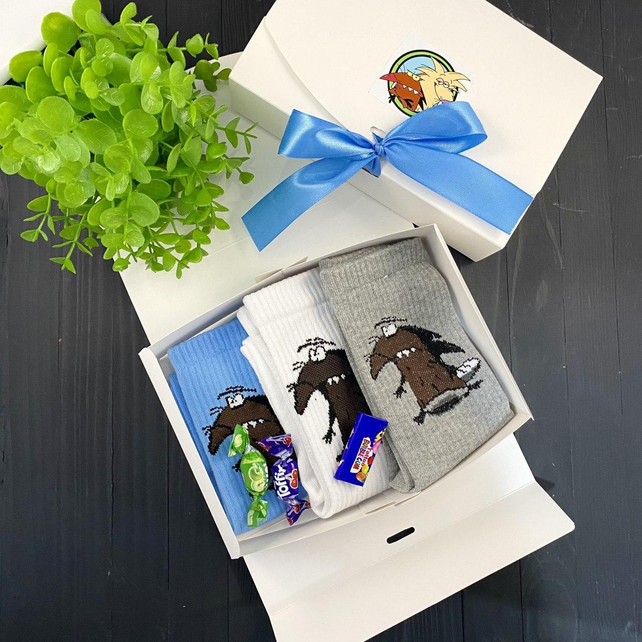 Подарочный набор женский носки 3 шт Бобры белые, серые, голубые