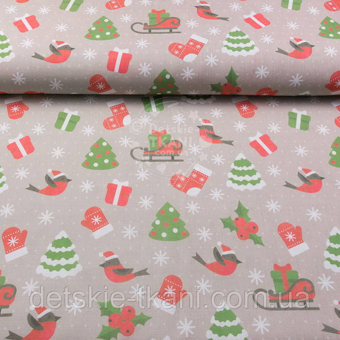 """Новогодняя ткань для скатертей  """"Снегири, ёлки и сани с подарками"""" на кофейном фоне №3081"""