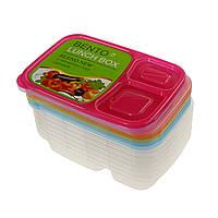 Пластикові контейнери для їжі 3 відділення з кришками - набір 7 шт., фото 1