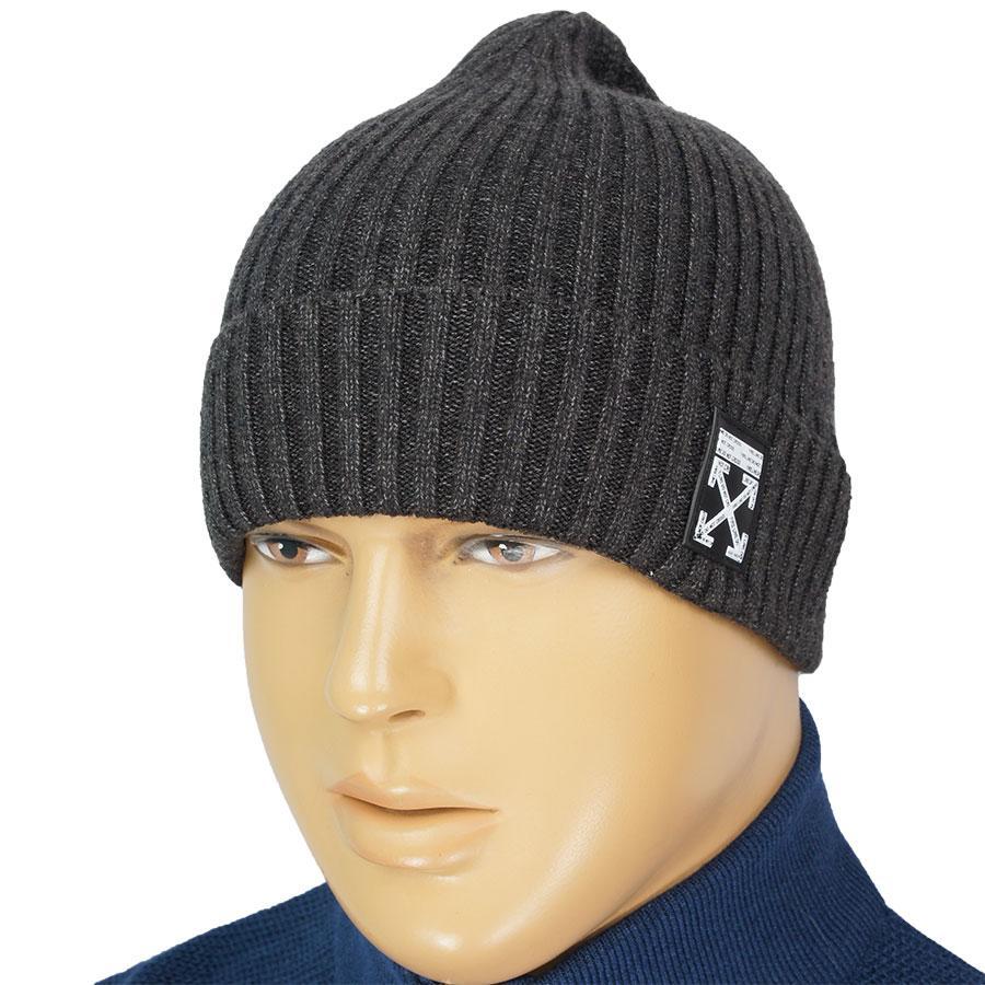 Стильна чоловіча тепла шапка ORIGINAL OW: 2020 d.grey в темно-сірому кольорі