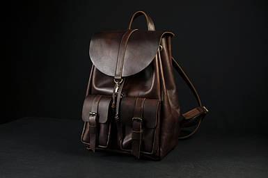 """Кожаный рюкзак """"Джейн"""", Кожа Итальянский краст, цвет Вишня"""