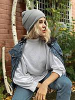 Шапка женская модная  вязаная  зимняя с подворотом цвета светло-серая, фото 1