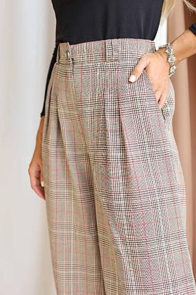 """Расклешенные женские брюки в клетку """"Палаццо"""" с карманами, фото 2"""